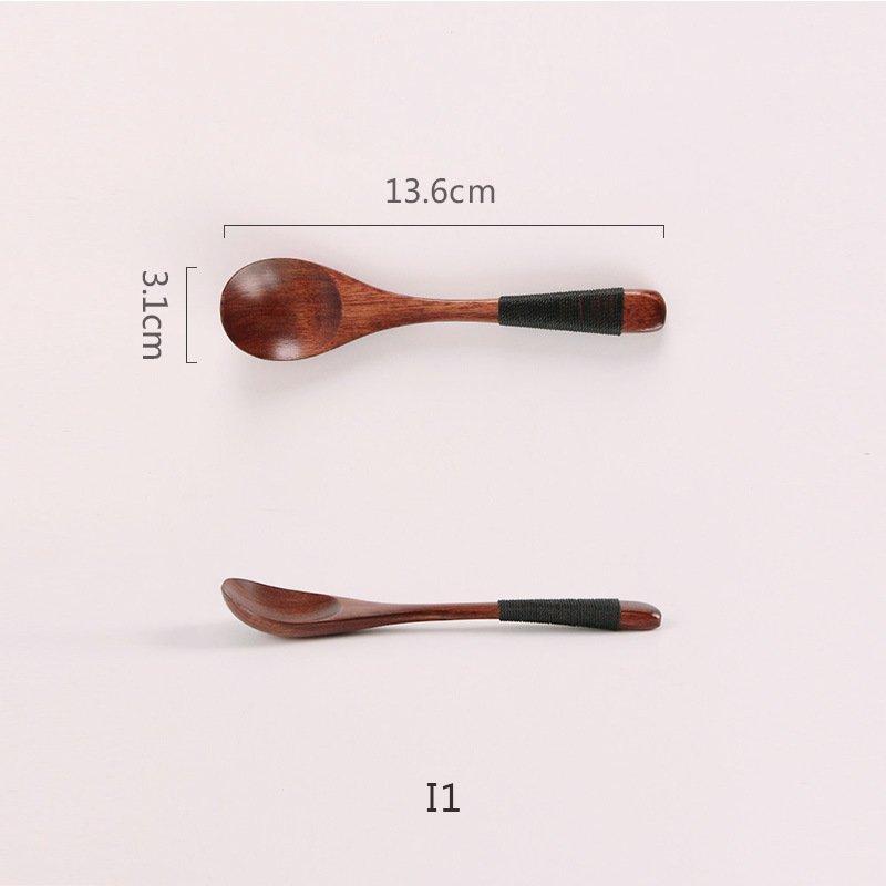Muỗng / Thìa Gỗ Handmade Cao Cấp Màu Nâu Đầu Tròn Cán Dài