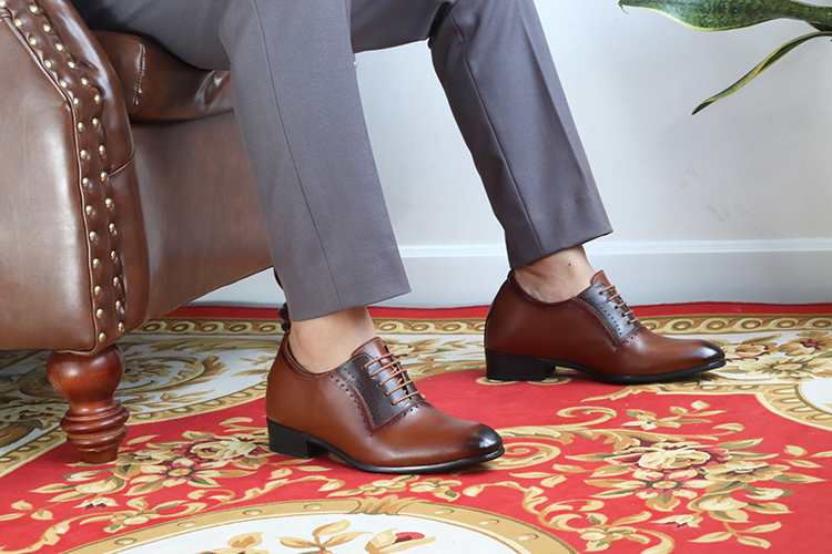 Giày Cao Nam T&TRA Tăng Cao 8Cm- S1033 Nâu - Chất Liệu Da Bò Cao Cấp, Đế Cao Su Ghép - Đế Pháp, Phần Tăng Cao Ẩn Bên Trong