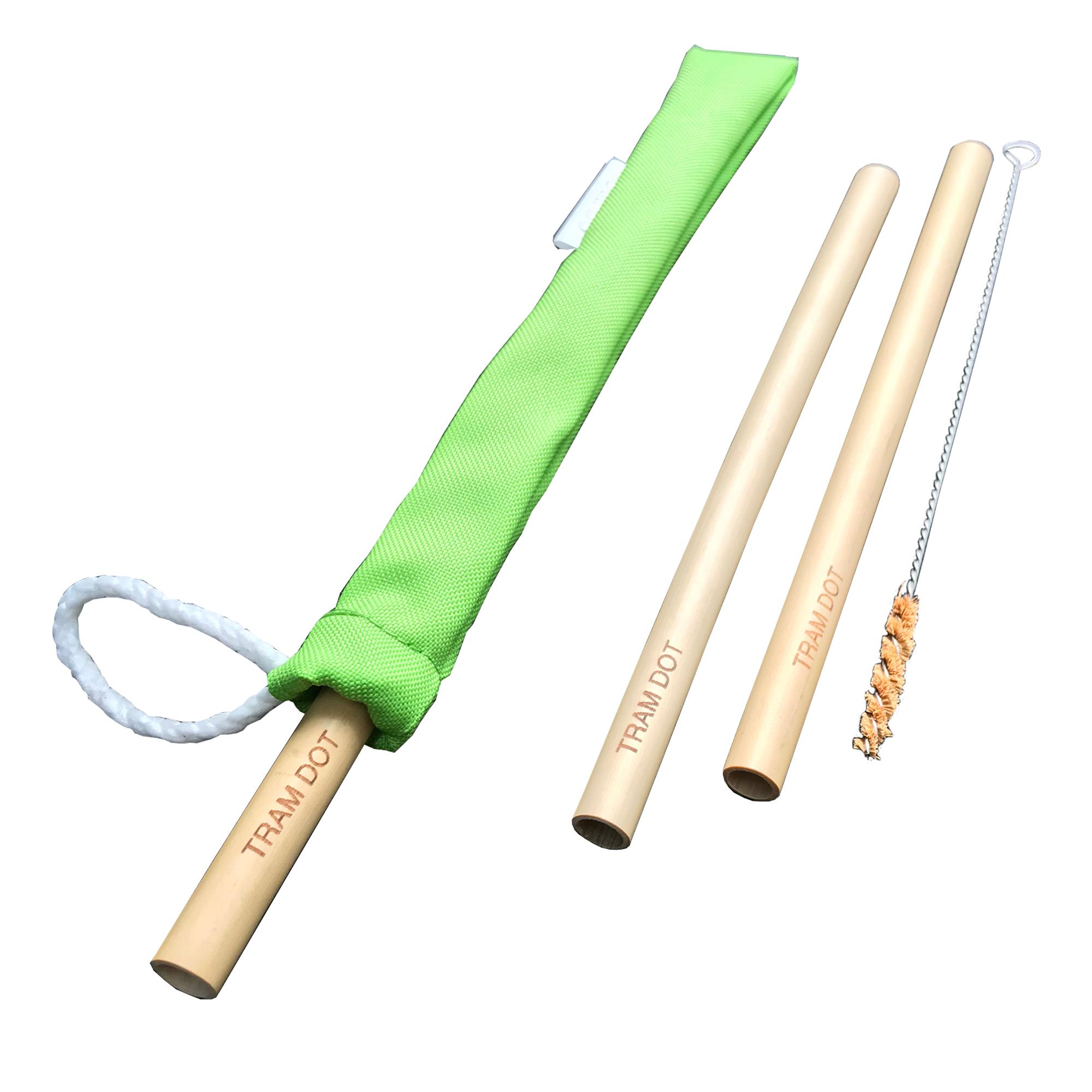 Pack 2 – Ống hút tre dài 20cm, 100% tự nhiên với cọ vệ sinh xơ dừa