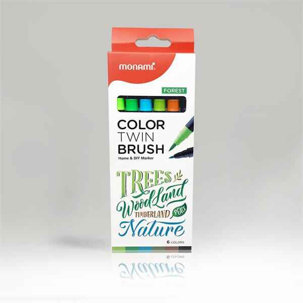 (Monami)- Hộp bút lông màu 2 đầu Twin Color (6 cây)