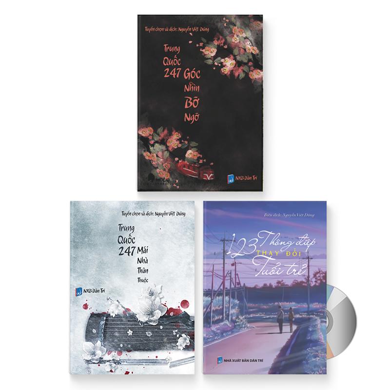 Combo 3 sách: Trung Quốc 247: Góc nhìn bỡ ngỡ (Song ngữ Trung - Việt có Pinyin) + Trung Quốc 247: Mái nhà thân thuộc (Sách song ngữ Trung - Việt có phiên âm) + 123 Thông Điệp Thay Đổi Tuổi Trẻ (Trung giản thể – Trung phồn thể – Pinyin – tiếng Việt) + DVD