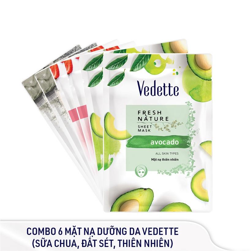 Combo 6 Mặt nạ dưỡng da Vedette (sữa chua, đất sét, thiên nhiên)