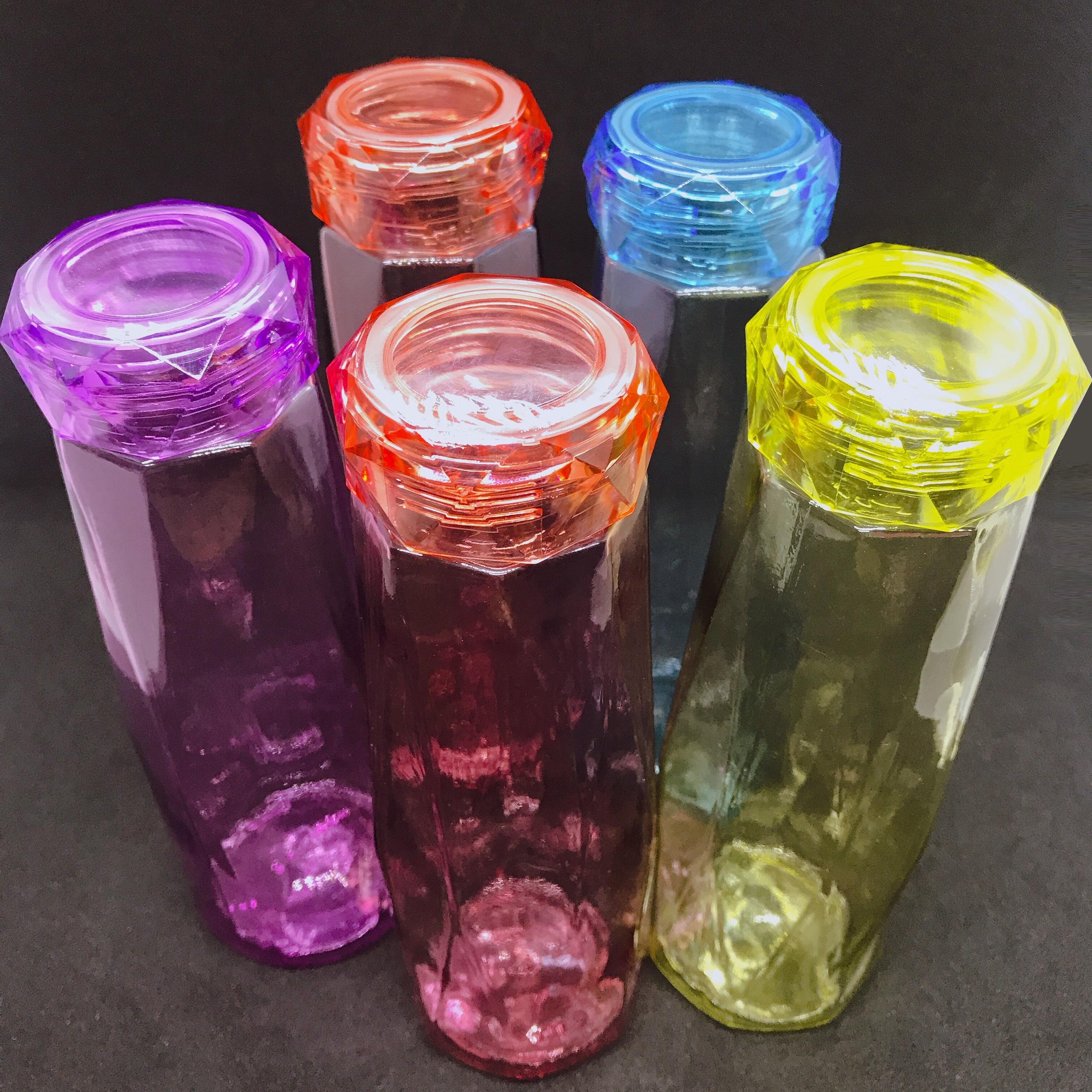 Combo 5 chai thủy tinh đựng nước 450ml cao cấp Mẫu giác cắt kim Cương (5 màu ngẫu nhiên) – Bình đựng nước, Café, Trà, Nước Ép cực đẹp cho các anh chị làm văn phòng – hot trend, mẫu mới nhất hiện nay, nhiều màu sắc