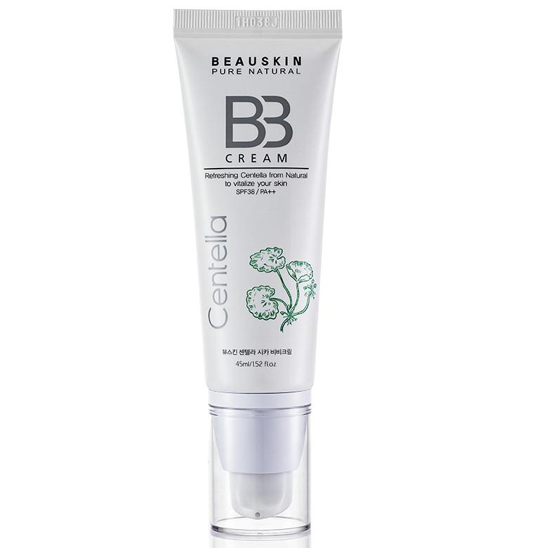 Kem lót trang điểm tông tự nhiên BB cream Beauskin Cica Centella Hàn quốc (45ml)  và son majune màu ngẫu nhiên