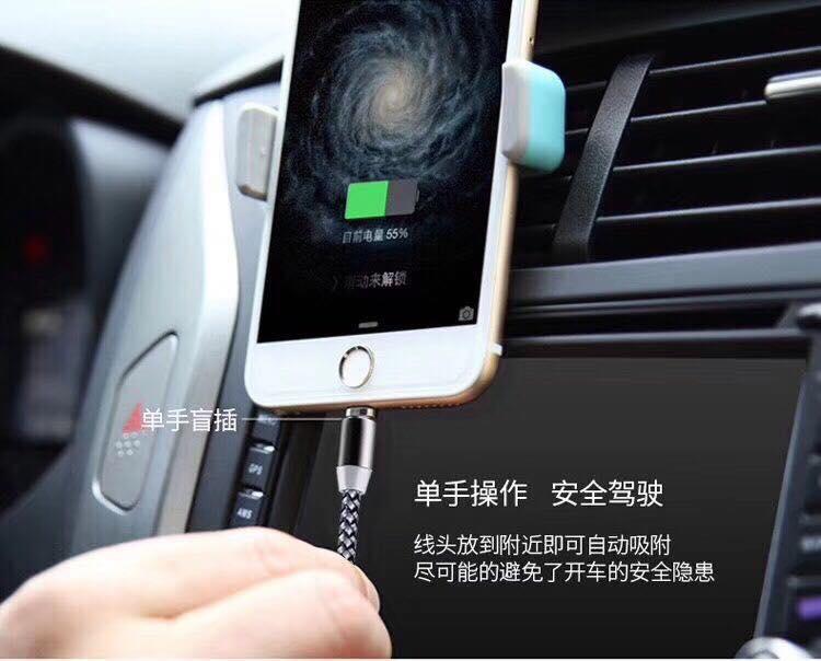 Cáp Sạc Nam Châm Xoay 360 Độ  dành cho Iphone + Samsung + Usb Type C - Bọc Dù