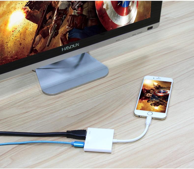 Cáp chuyển đổi Lightning sang HDMI Full HD1080P PCM-1600 - Hàng Nhập Khẩu
