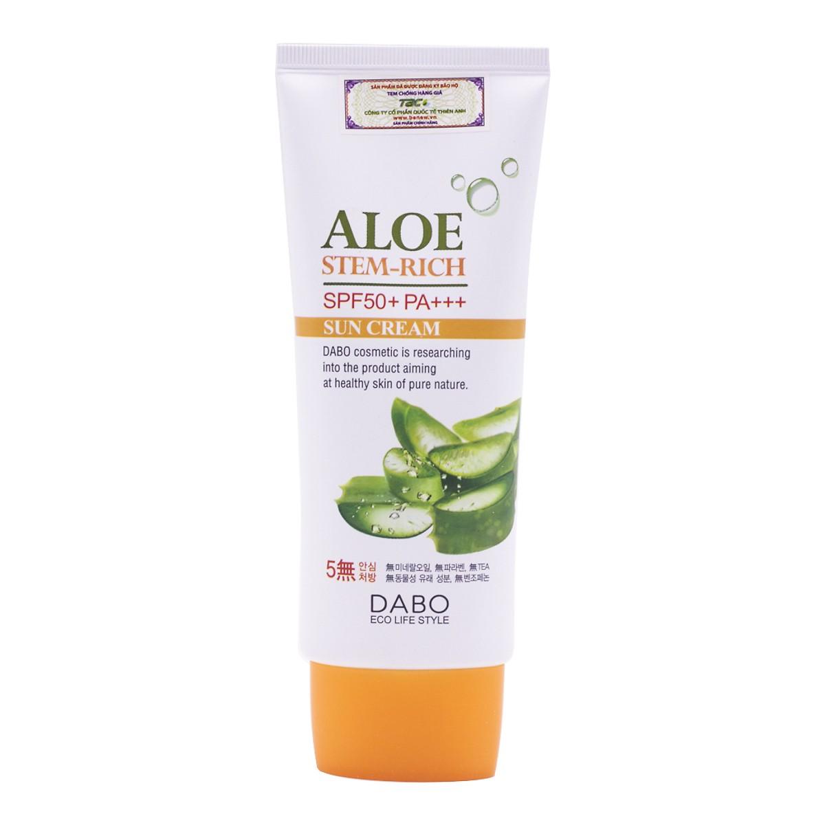 Kem chống nắng dành cho da khô chiết xuất lô hội Dabo Aloe Stem Rich Sun Cream – (70ml) – Hàng Chính Hãng