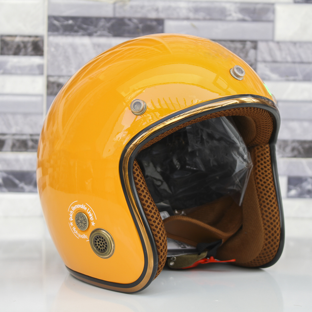 Hình ảnh Mũ Bảo Hiểm 3/4 đầu SRT N168 Freesize - Lót nâu, viền bạc, khóa đỏ (Nhiều màu)