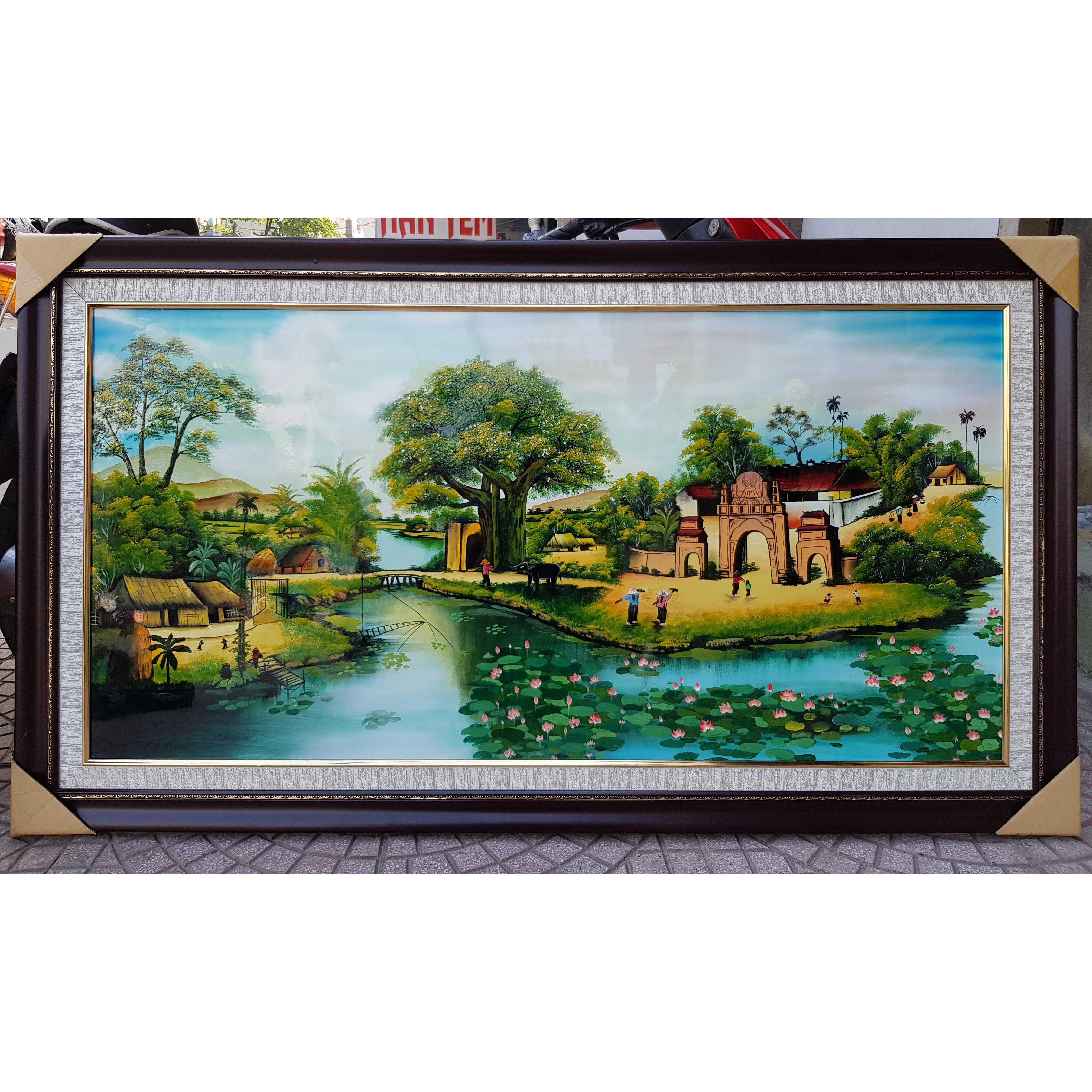 Tranh vẽ sơn mài -Phong Cảnh Cây Đa Cổng Làng- Làng Quên Yên Bình-SM282