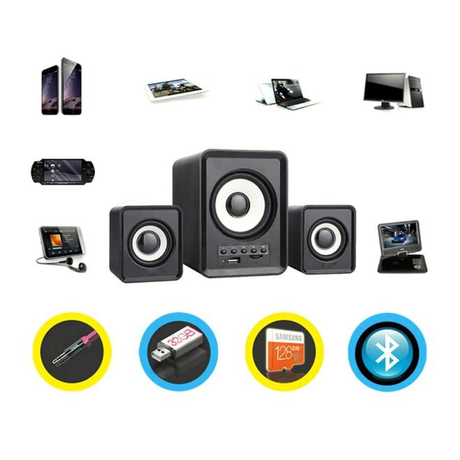 Combo Bộ 3 Loa Máy Tính D-230 Hỗ Trợ Bluetooth, USB, thẻ nhớ, jack 3.5 + Tặng Bật Lửa Khò Ga Đá Kiêm Móc Khóa (Màu Ngẫu Nhiên Với Sản Phẩm Loa)