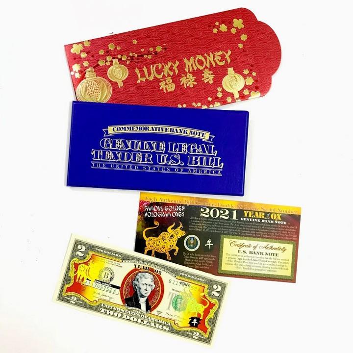 Tiền 2 USD Hình Con Trâu 2021 in hình chú Trâu Vàng Lucky Money bao da xanh
