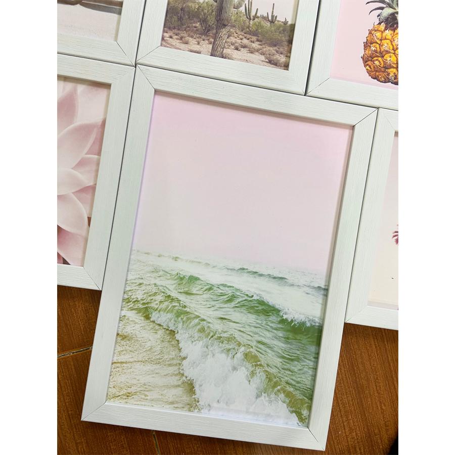 Bộ khung 06 tranh phong cảnh tông màu hồng pastel treo tường, trang trí  phòng khách, phòng ngủ - Tặng set đinh treo tranh chuyên dụng và khung bo ngoài màu trắng