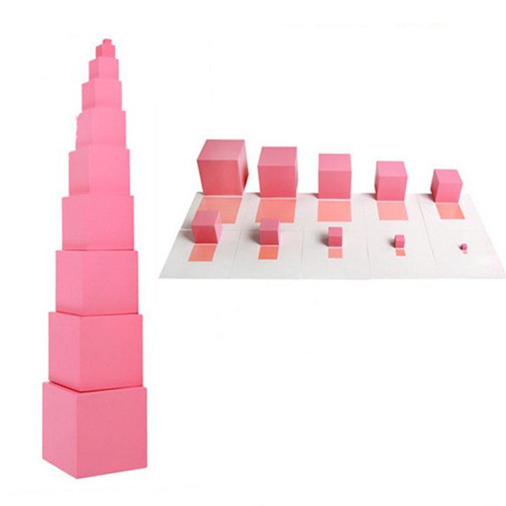 Bộ tháp hồng kèm thẻ nhỏ cho hộ gia đình Giáo cụ Montessori