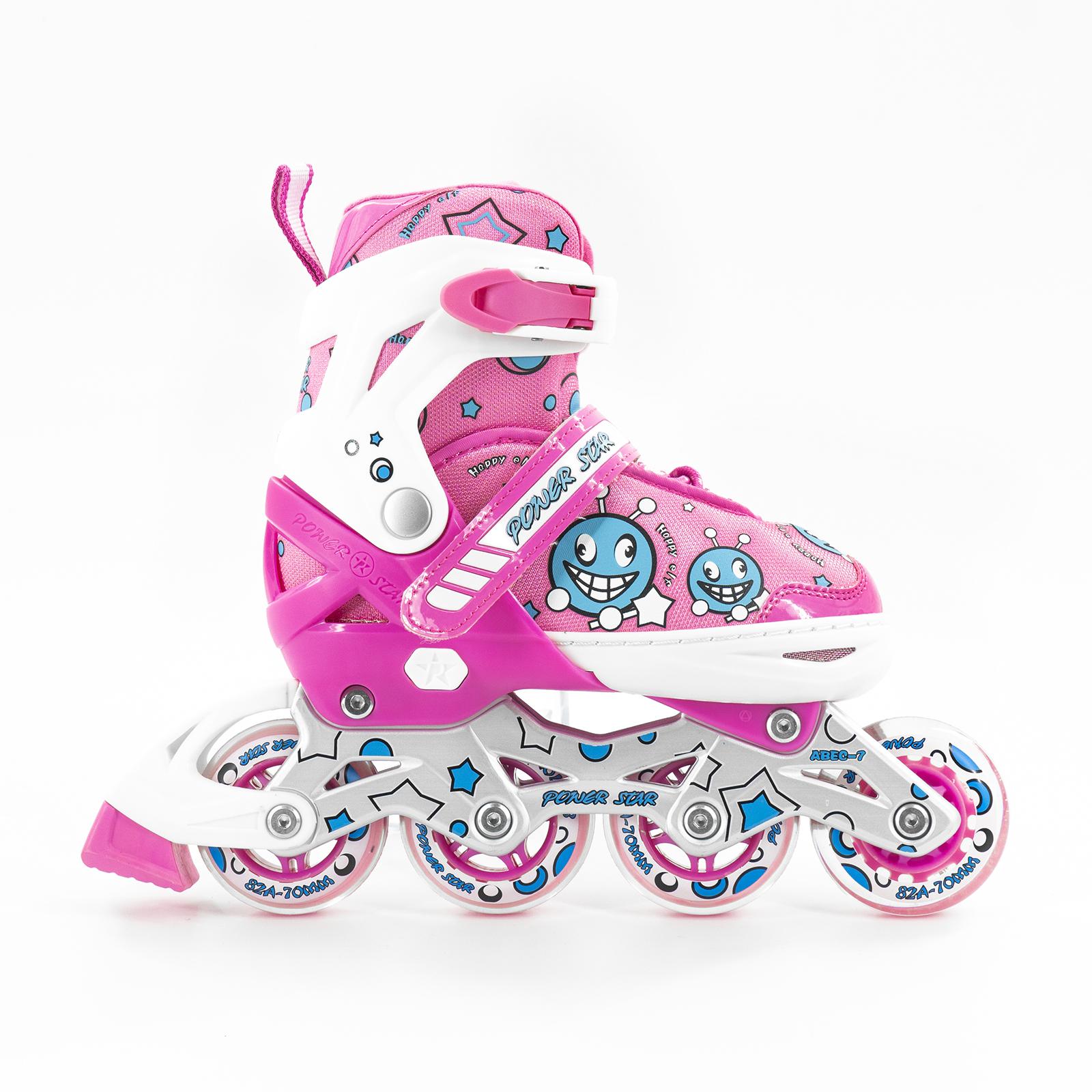 COMBO Giày trượt patin  Power Star Baby phù hợp cho bé từ  3 tuổi đến 14 tuổi có thể điều chình 3 size (gồm giày + bảo hộ tay chân 6 món + mũ bảo hộ)