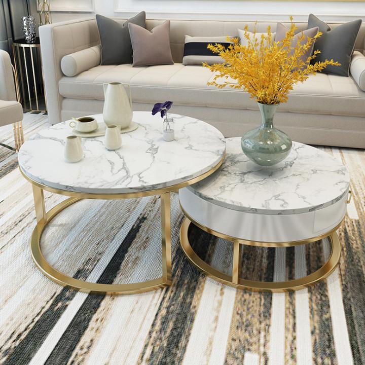 Bàn trà đôi - mặt đá cao cấp - phòng khách