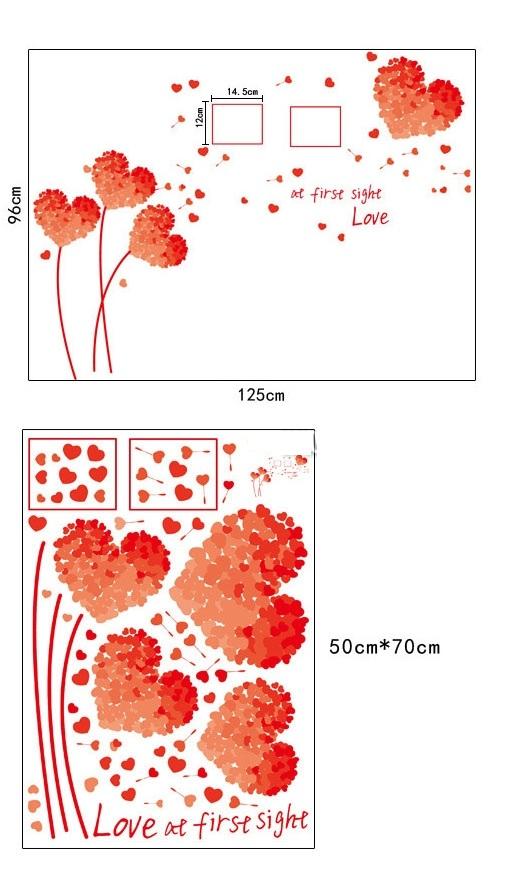 Decal dán tường trái tim đỏ DC1018 (96 x 125 cm)