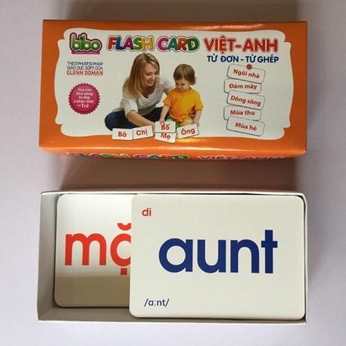 Bộ thẻ học song ngữ Flash Card Việt - Anh -Từ đơn - từ kép cho bé