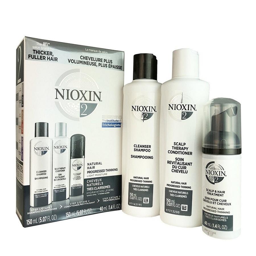 Bộ dầu gội xả Nioxin 2 Natural Hair Progressed Thinning Travel Kit Cho tóc tự nhiên có dấu hiệu thưa rụng Mỹ 150ml