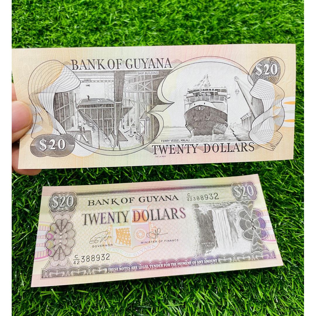 Tiền Guyana 20 Dollar, đất nước Châu Mỹ, mới 100% UNC, tặng túi nilon bảo quản The Merrick Mint