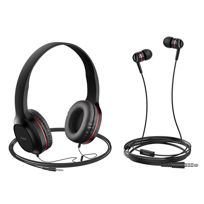 Bộ đôi tai nghe chụp tai và nhét tai có dây Hoco W24 Enlighten âm thanh cực hay - Hàng Chính Hãng