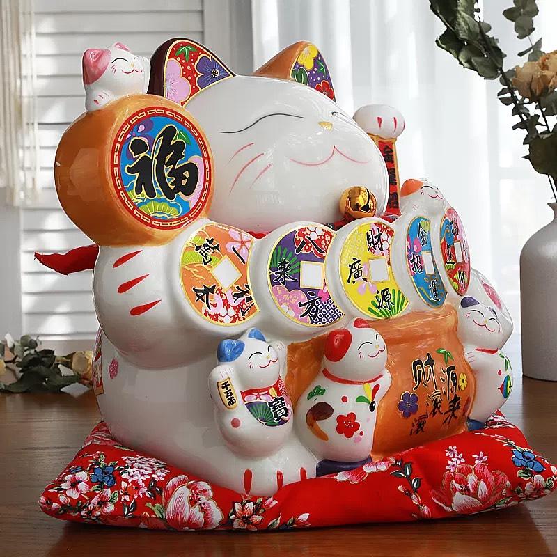 Mèo Thần Tài Khai Vận Phát Tài - Gốm sứ Nhật cao cấp - 25cm - HCM