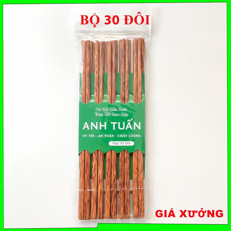 Bộ 30 Đôi Đũa Gỗ Dừa Bến Tre Loại 1 Kháng Khuẩn