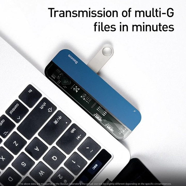 Bộ Hub chuyển đổi 5 trong 1 dùng cho Macbook, iPad Pro Baseus CAHUB-TD03 - Hàng nhập khẩu