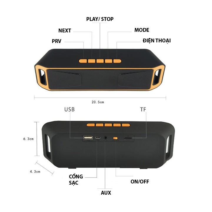 Loa di động Bluetooth SC208 âm thanh cực chất giao màu ngẫu nhiên