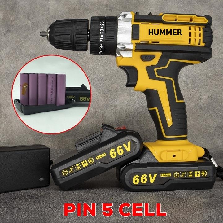 Bộ máy khoan pin HUMMER 66V khoan tường, khoan sắt, khoan bê tông máy 2 pin, đảo chiều và mũi khoan