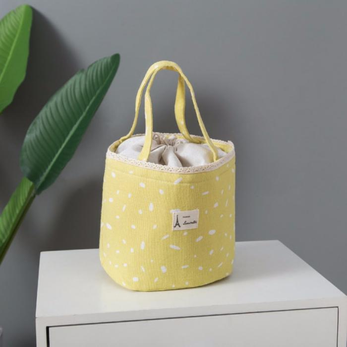 Túi đựng cơm tròn dây rút hoạ tiết vẩy sơn (size 18x17x25cm) - Tặng 01 kẹp tóc Hàn Quốc