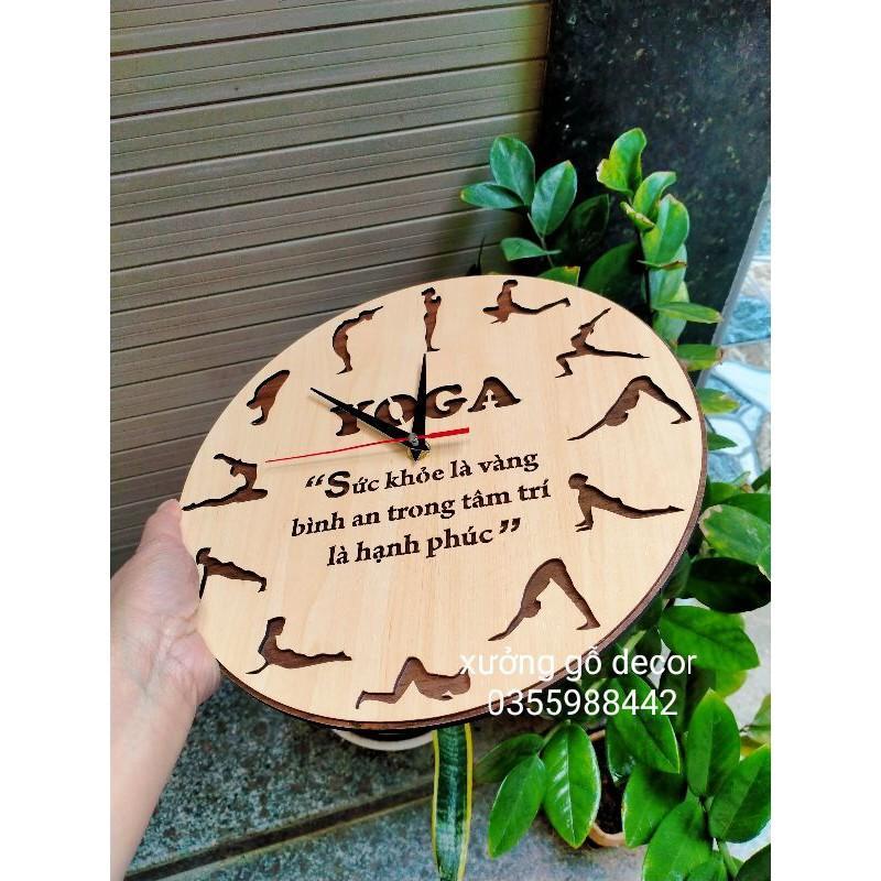 (Mẫu Mới) Đồng Hồ Treo Tường Yoga Nghệ Thuật Khắc Logo Theo Yêu Cầu
