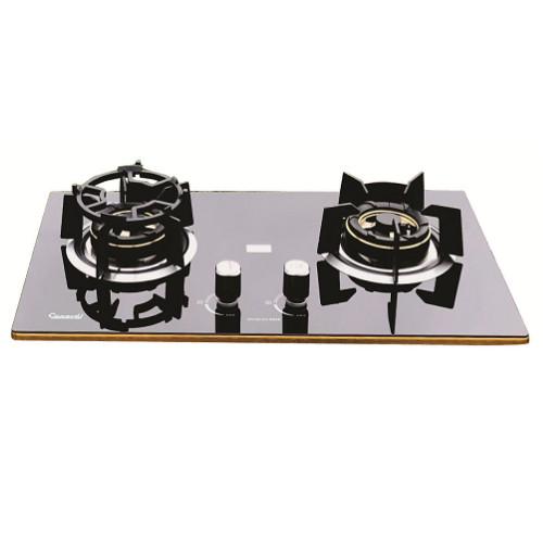 Bếp Gas âm CANAVAL CA-6828 02 lò Công nghệ in gương bo viền vàng 4 cạnh Màu đen - Hàng chính hãng