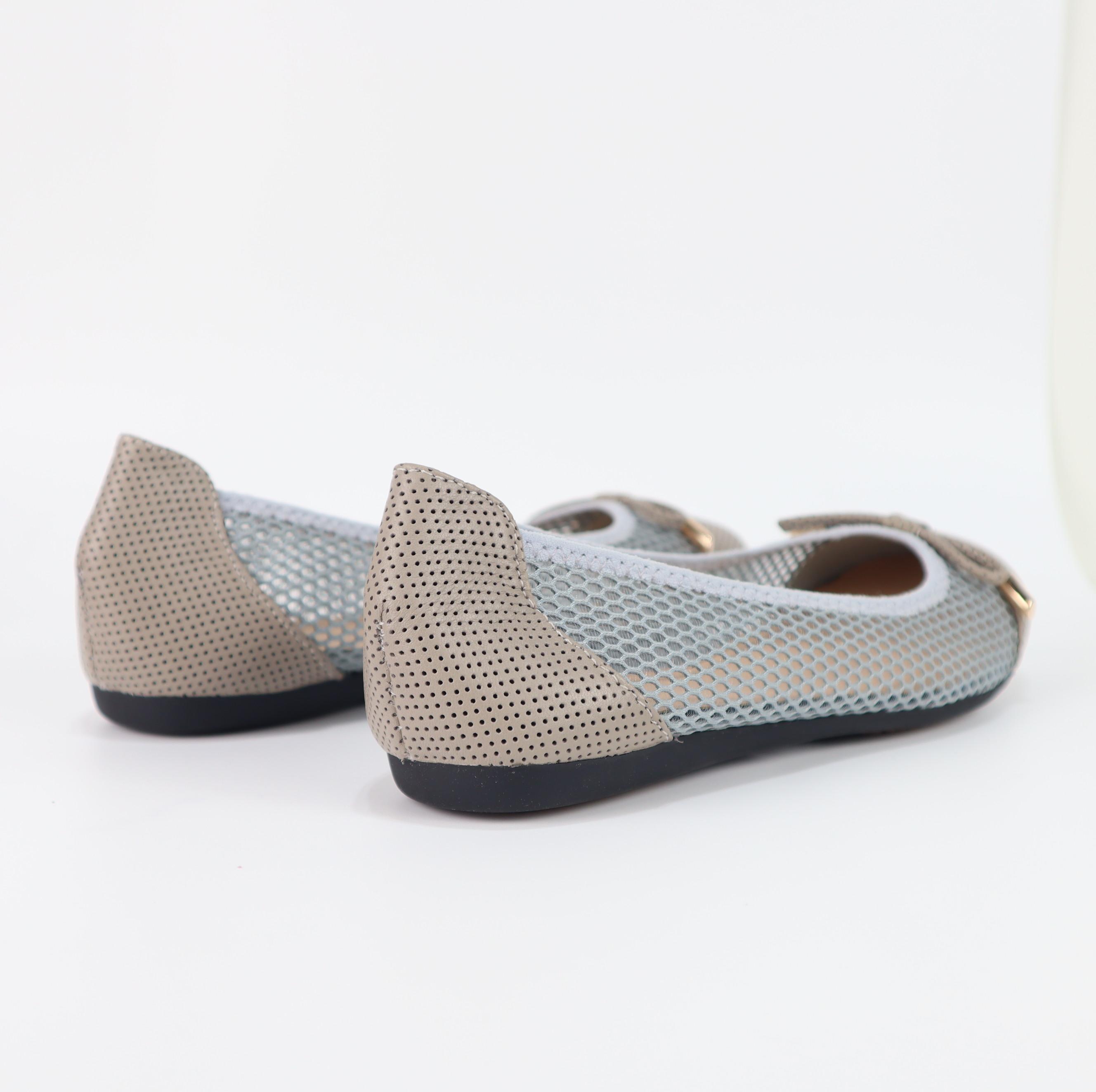 Giày búp bê nữ đế bằng da thật phối lưới Cillie 1135