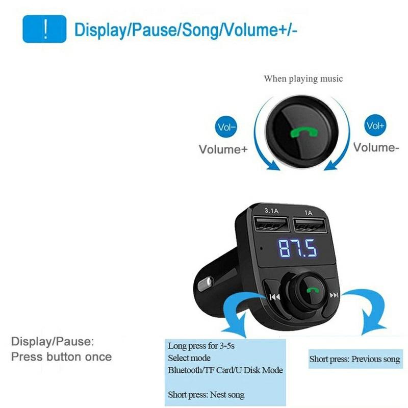 Tẩu Nghe Nhạc MP3  Bluetooth X8 Trên Xe Hơi Cao Cấp Kèm Sạc Nhanh 3.1A