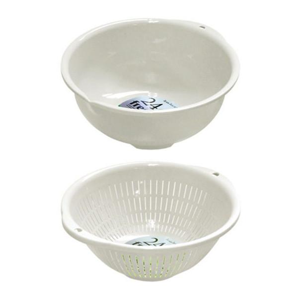 Combo chậu nhựa 3.6L - trắng + rổ nhựa 3.6L màu trắng nội địa Nhật Bản