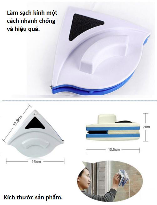 Dụng cụ lau kính 2 mặt hít nam châm tam giác, dụng cụ vệ sinh, lau của kiếng chung cư