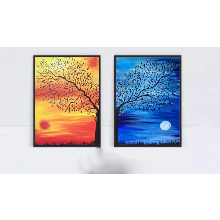 2 tranh canvas cây đỏ, xanh nghệ thuật