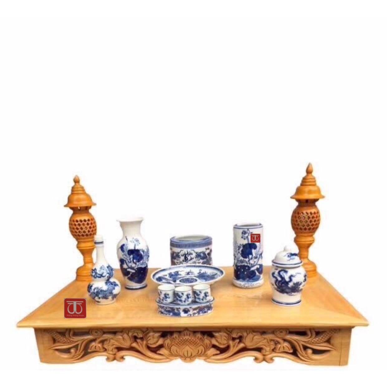 Combo bộ bàn thờ treo tường gỗ PM và bộ bát nhang thờ Thổ Công bằng sứ bao gồm đèn thờ và bộ đồ thờ rồng sen trắng sứ xanh