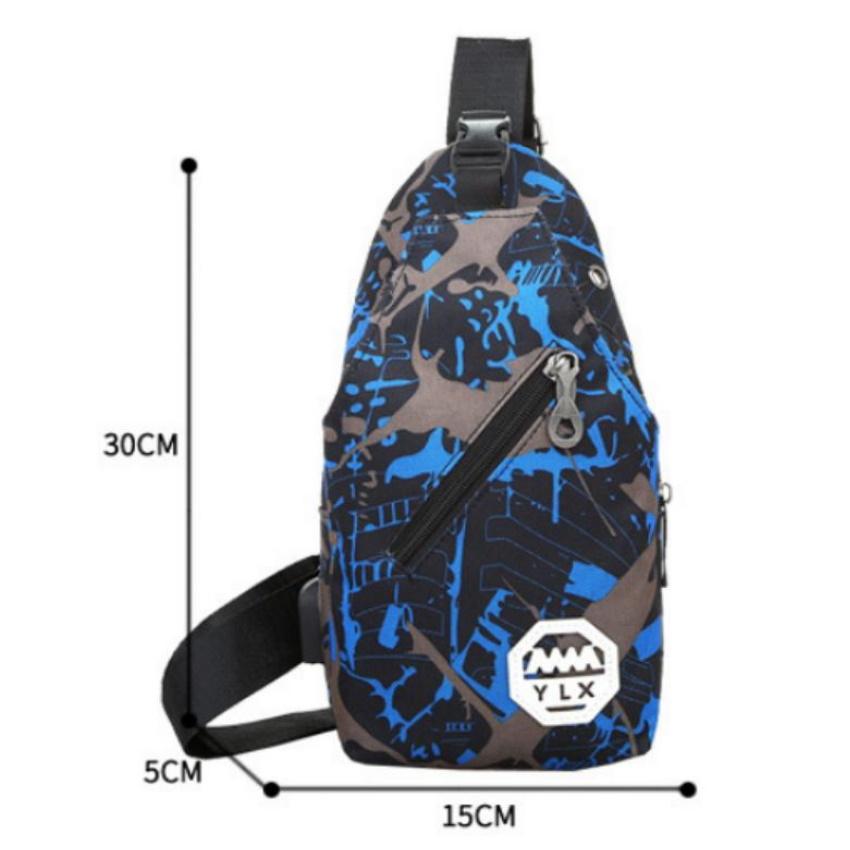 Túi nam đeo chéo tích hợp cổng sạc 208253 (xanh)