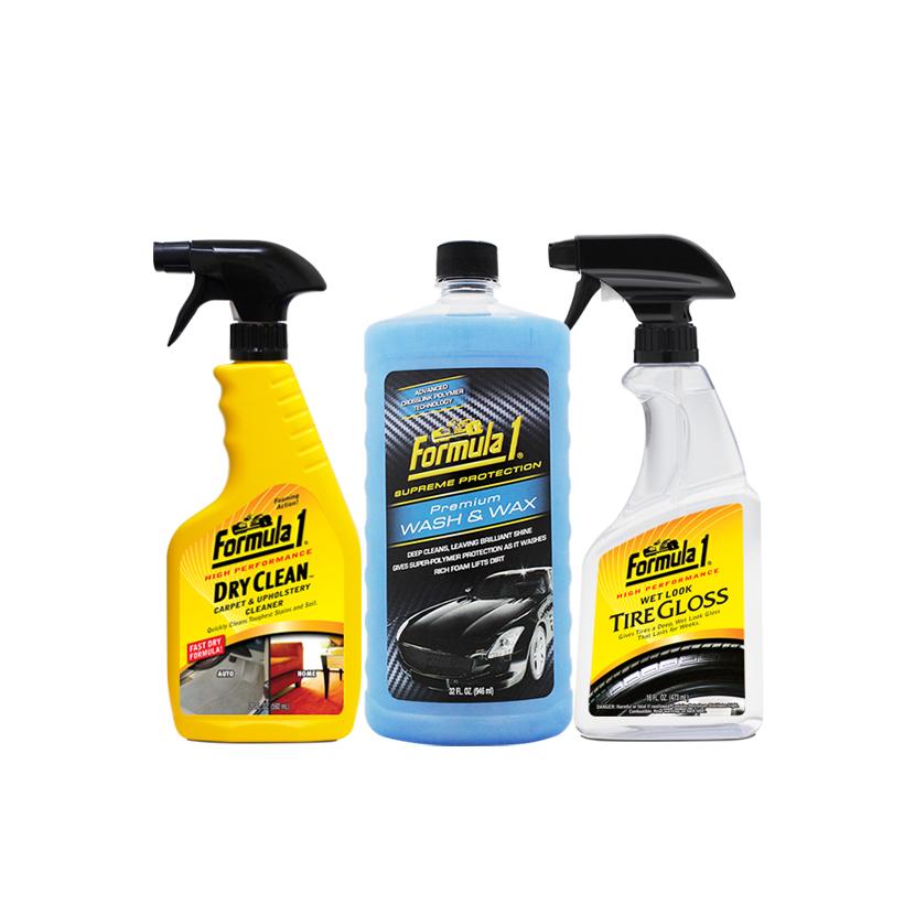 Combo Chăm sóc nội thất ngoại thất xe Formula 1: Giặt nệm khử mùi dạng xịt-Nước rửa xe có chất đánh bóng-Phục hồi sáng bóng vỏ xe