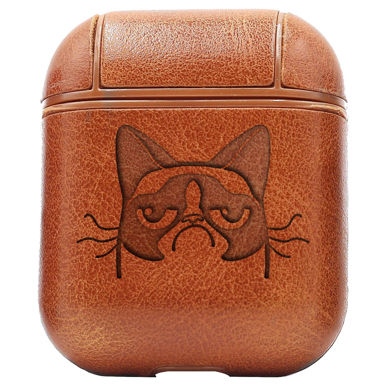 Bao Da Cover Apple Airpods 1 / 2 Premium  Khắc Hình Mèo Giận Dữ (Cat Angry Face Puppy)