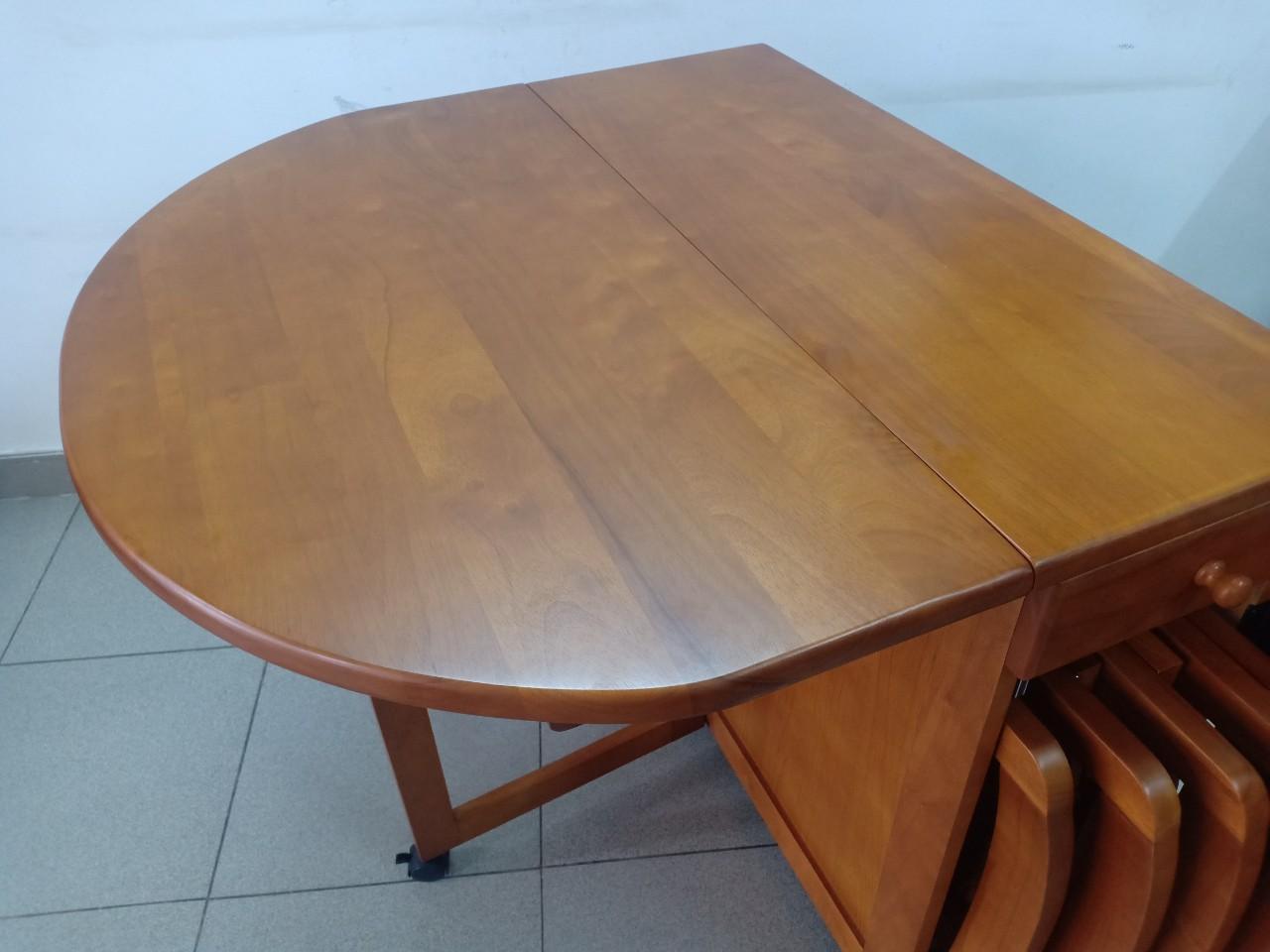 Bộ bàn ăn xếp gọn gỗ cao su xuất khẩu Hi Furniture