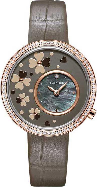 Đồng hồ nữ dây da mặt xà cừ đính hoa Thụy Sĩ TOPHILL TE056L.PZ38A7