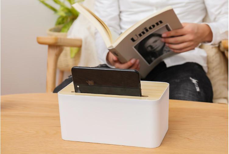 Hộp đựng giấy ăn trắng nắp gỗ cao cấp đa năng