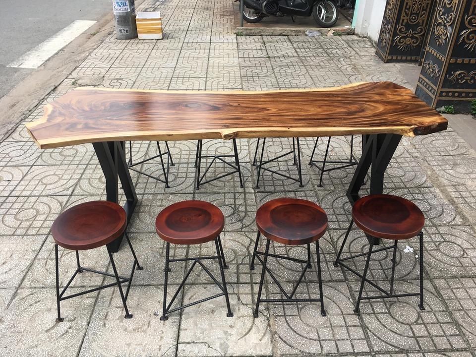 Bộ bàn ăn + 8 ghế đôn tròn gỗ me tây nguyên tấm