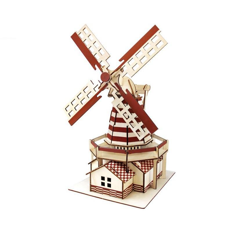 Đồ chơi lắp ráp gỗ 3D Mô hình Cối Xay Gió Dutch Windmill Laser