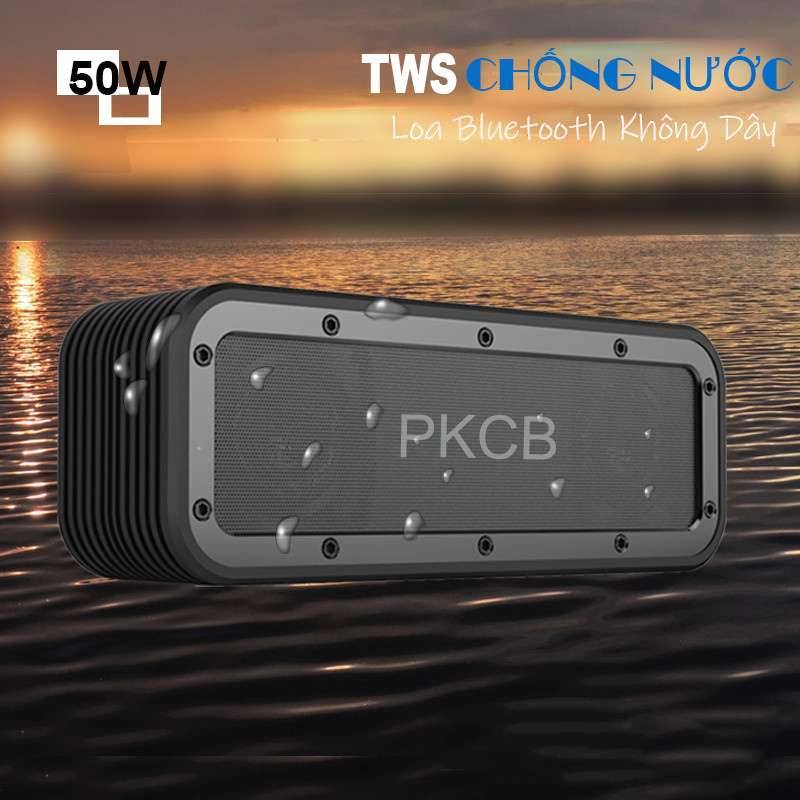 Loa Bluetooth 50W công suất lớn Super Bass chống nước IPX7 pin 6600MAH sạc nhanh Type C công nghệ AI Hàng Chính Hãng PKCB