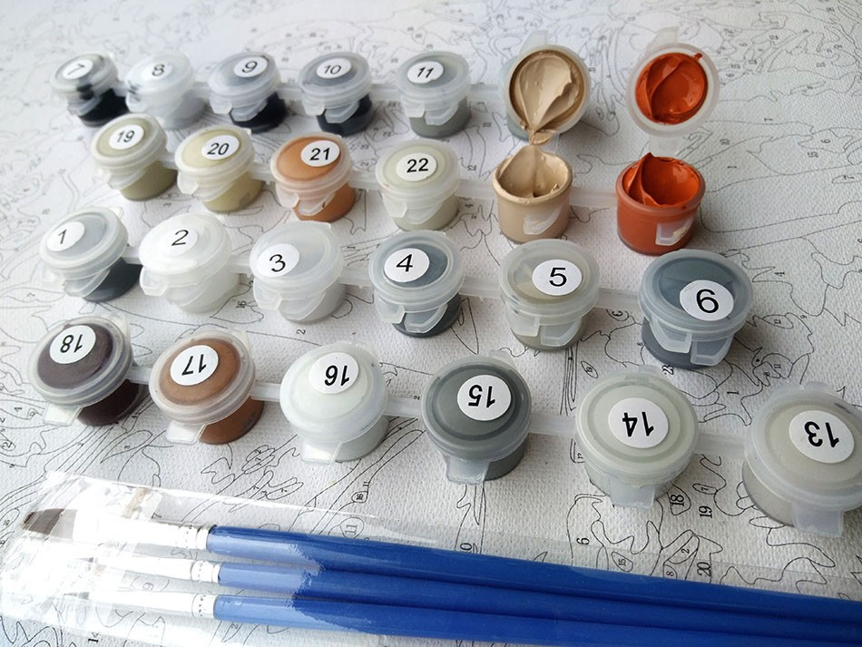 Tranh sơn dầu số hoá tự tô loại đã căng khung 2 chú hươu và hoa lá trừu tượng