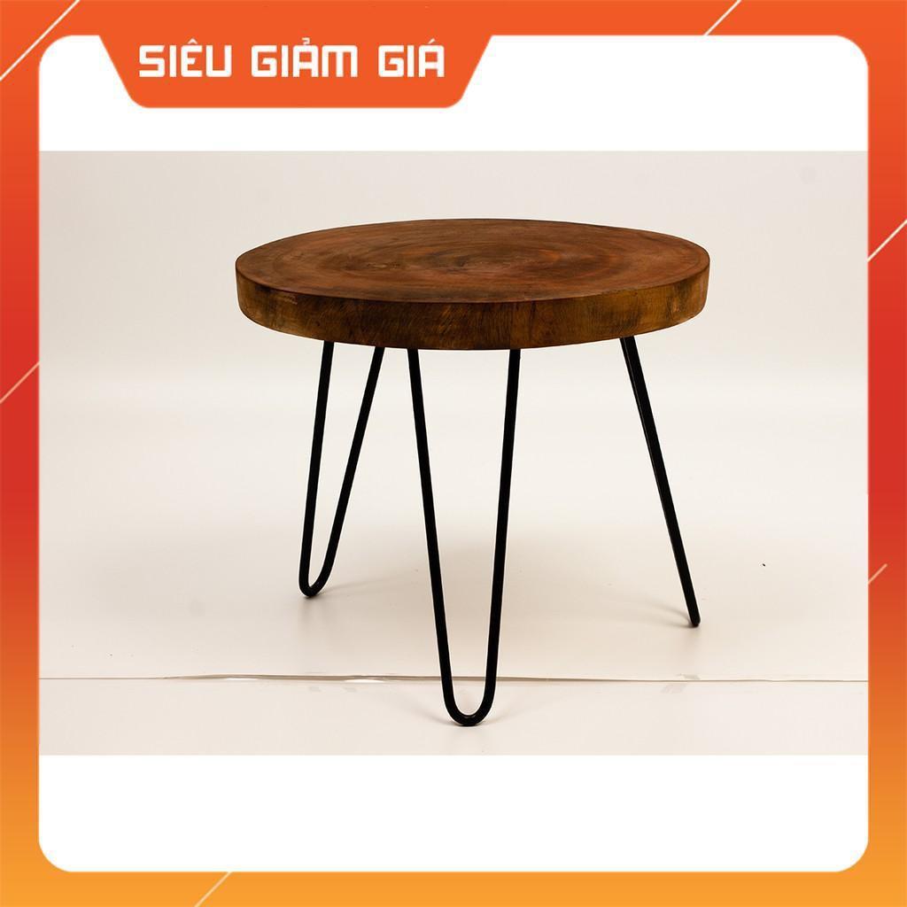 bàn tròn gỗ chân sắt dành cho quán cà phê