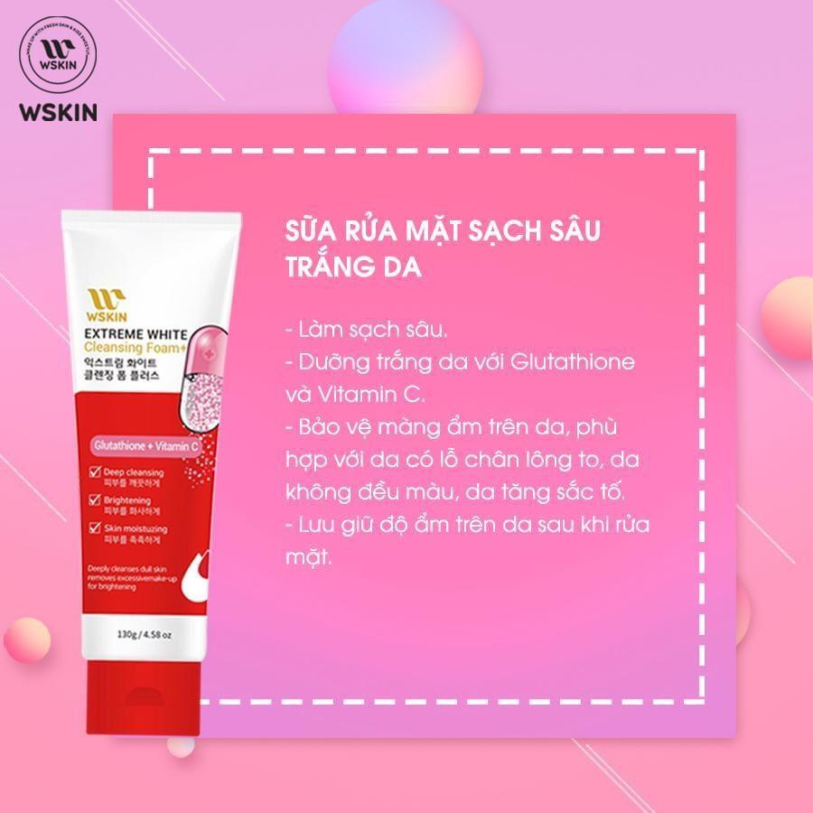 Sữa Rửa Mặt Trắng Da - Ngừa Nám Wskin Extreme White Cleansing Foam Glutathione + Vitamin C